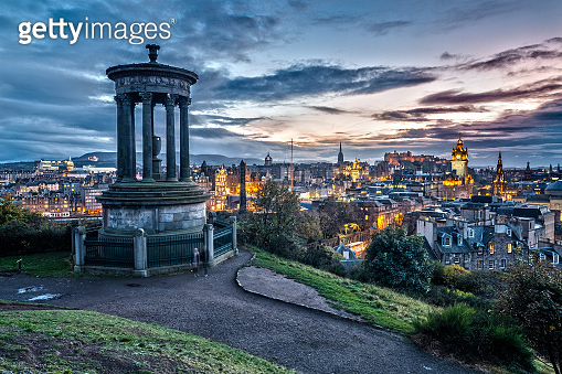 Panoramic View from Carlton Hill in Edinburgh at Sunset