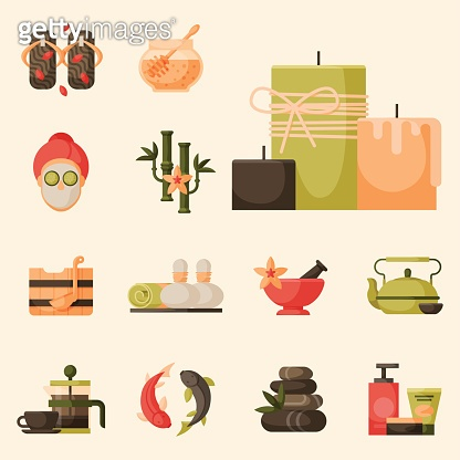 Vector illustrations of beautiful woman spa treatment, beauty procedures wellness icons