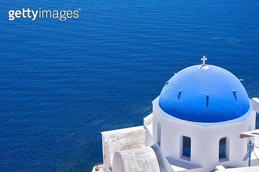 Landscaped of Blue Church Santorini