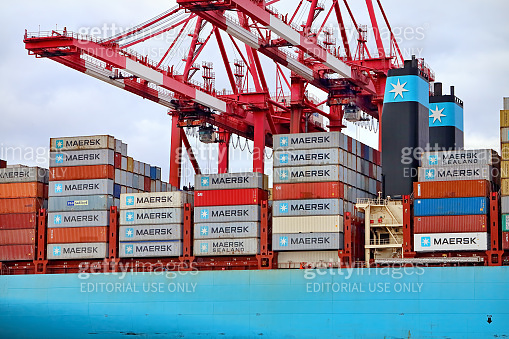 Containers loaded on Maersk Line ship