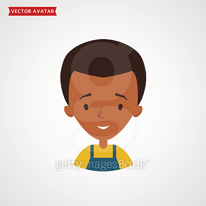 Face of black man. Vector avatar.