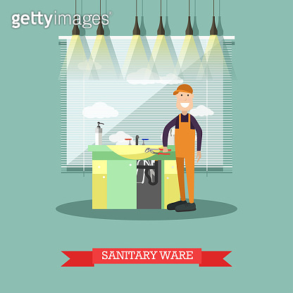 Sanitary ware concept vector illustration in flat style