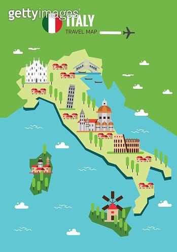 Italy travel map, Italian Colosseum, Milan, Venice. Sicilia and