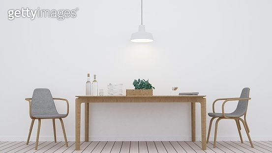 The interior minimal relax space furniture 3d rendering and background white decoration