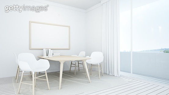 3D Rendering corner interior minimal relax space room and view nature