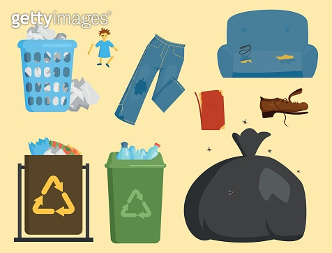 Recycling garbage elements trash bags tires management industry utilize concept and waste ecology can bottle recycling disposal box vector illustration