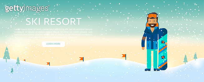 Winter sport background with character and skiing,  snowboarding