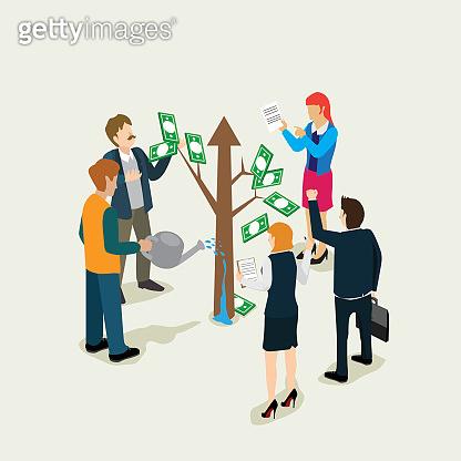 business people success in money tree finance