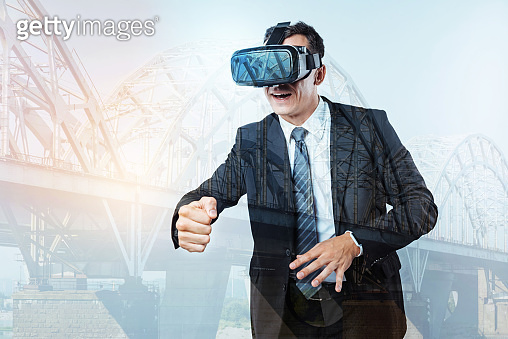 Nice handsome man being in a virtual dimension