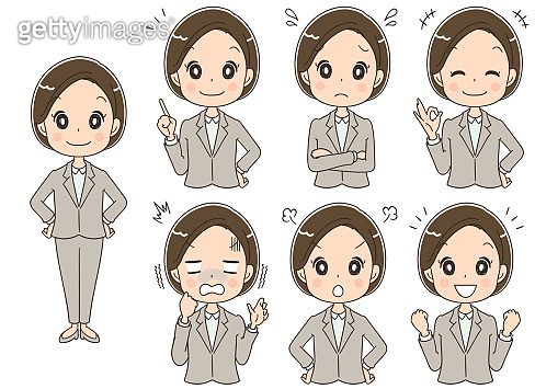 Business woman's collection with various expressions