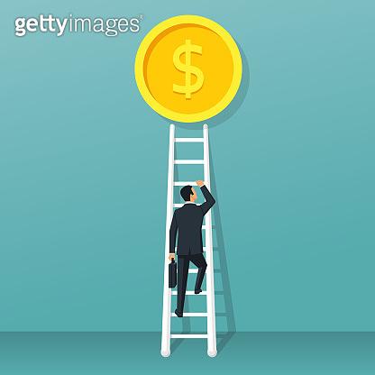 Businessman climbs up ladder to gold coin