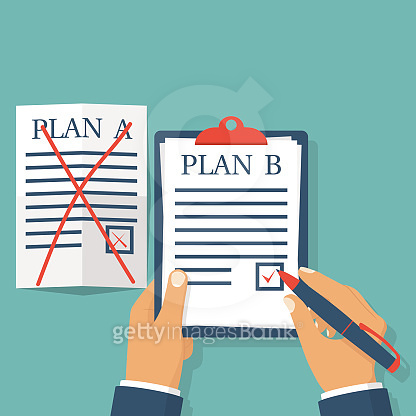 Plan B. Businessman hold clipboard in hand