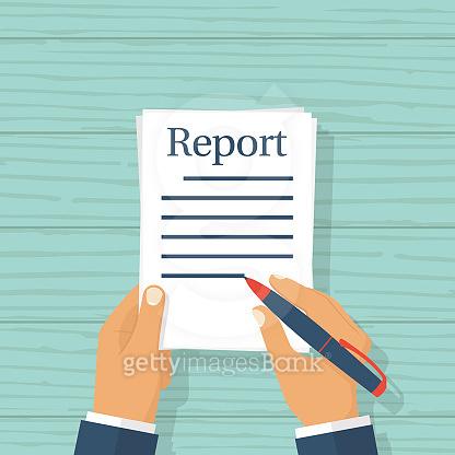 Businessman writes report concept