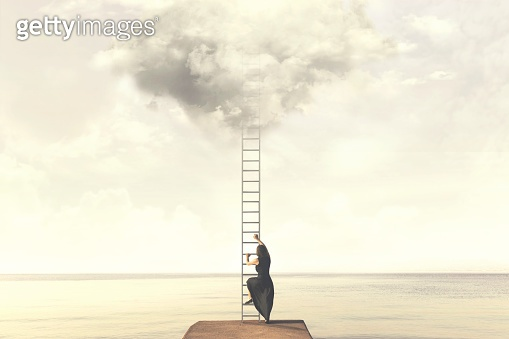 Surreal moment of woman climbing an imaginary scale to the clouds