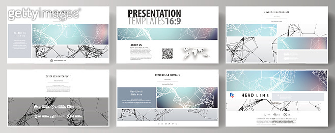 Business templates in HD format for presentation slides. Abstract vector layouts in flat design. Compounds lines and dots. Big data visualization in minimal style. Graphic communication background