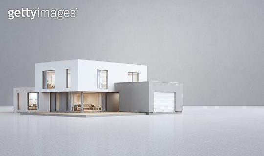 Modern house on white floor with empty concrete wall background in real estate sale or property investment concept, Buying new home for big family