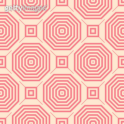Red and beige geometric ornament. Seamless pattern