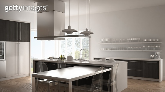 Minimalistic modern kitchen with table, chairs and parquet floor, white and gray interior design
