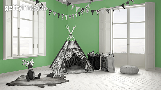 Child room with furniture, carpet and tent, two panoramic windows, scandinavian white and green interior design
