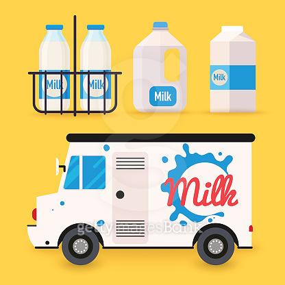 Dairy milk delivery service and milk bottles, packing. Local delivery van. Flat design modern vector illustration concept.