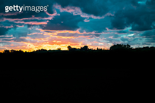 Meadow Sunset Landscape Scene, Uruguay