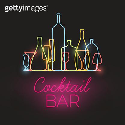 Vector Fresh Cocktail bar neon sign