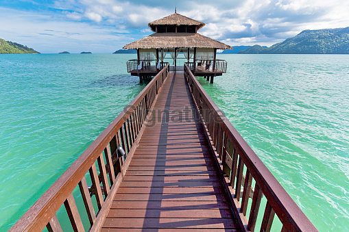 jetty with wooden house