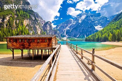 Braies lake in Dolomite Apls view, South Tyrol region of Italy