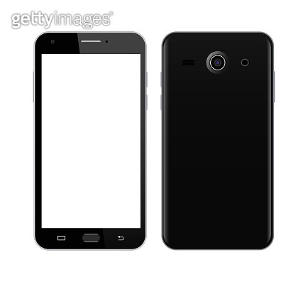Black smart phone in front and back sides