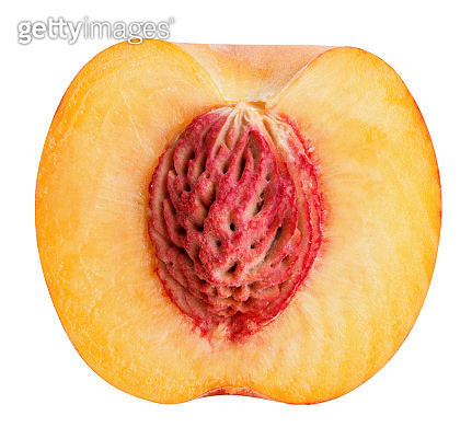 half cut peach isolated on white background