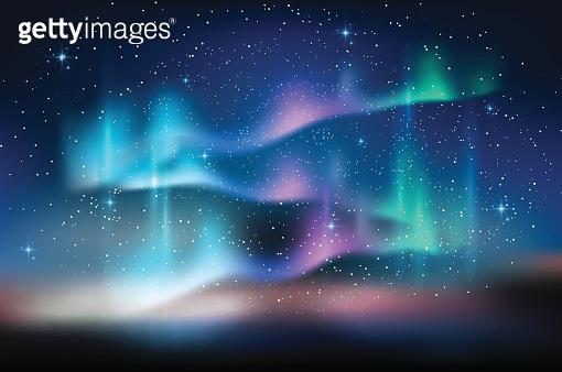 Aurora blue sky, stars milky way, astronomy background, Vector illustration