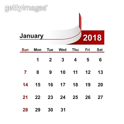 Vector simple calendar 2018 year january month.