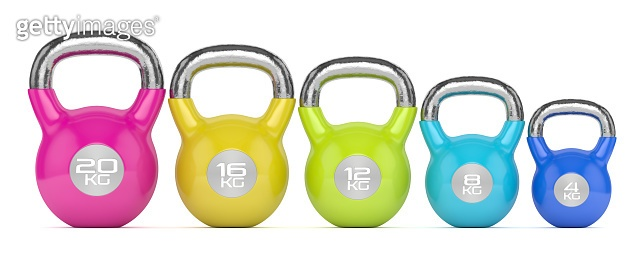 3d render of kettlebells over white