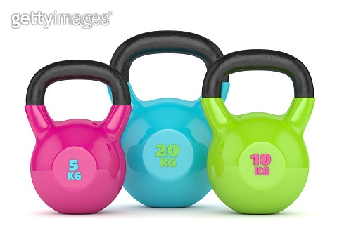 3d render of three kettlebells over white