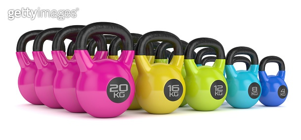 3d render of kettlebells in row over white