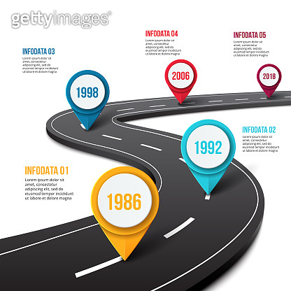 Vector road infographic with pin pointer. Timeline template with 5 markers on a curved road line.