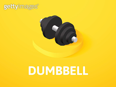 Dumbbell isometric icon, isolated on color background