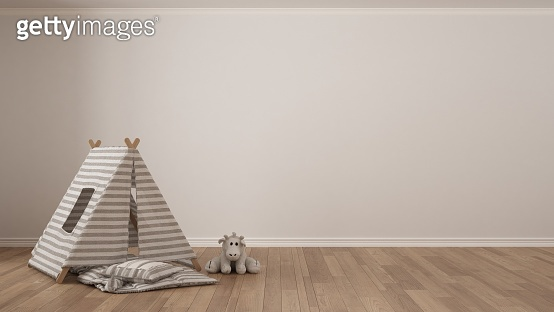 Kids minimalist white background with child tent, blanket pillow and toy on parquet flooring, child room nursery interior design