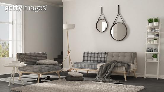 Scandinavian living room with couch, armchair and soft fur rug, minimalist white interior design