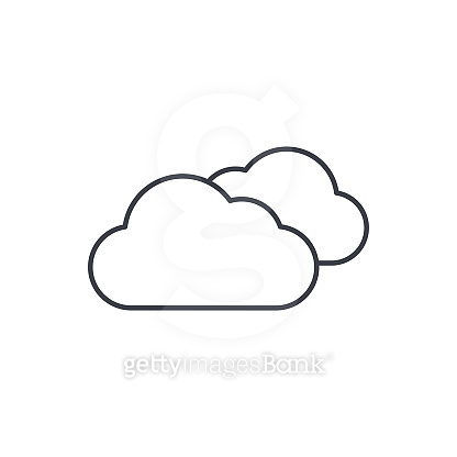 cloudy weather thin line icon. Linear vector symbol