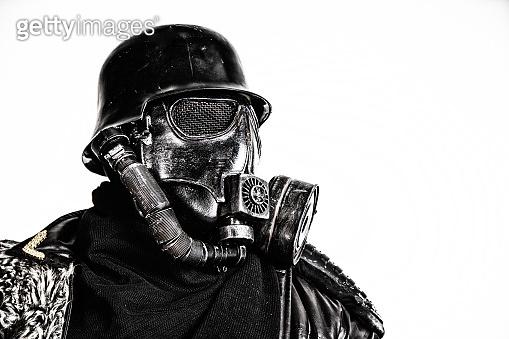 Futuristic nazi soldier studio shot
