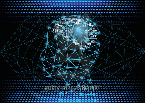 Artificial Intelligence with machine deep learning concept.