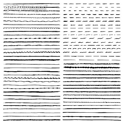 Set of vector templates hand drawing brushes. Wavy, curly, dotted, straight and zigzag hand drawing marker lines.