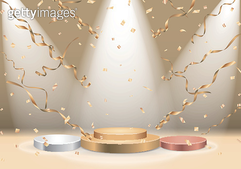 Winners podium with spotlight and confetti