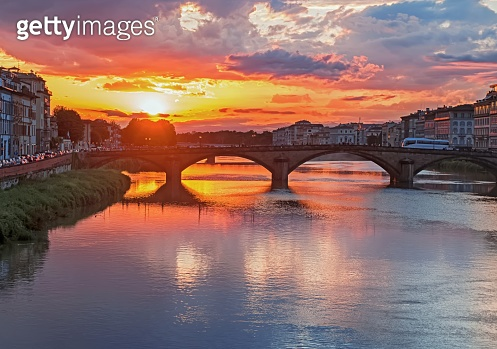 Beautiful sunset near the river at Florence