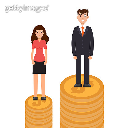 Gender gap, business difference and discrimination,  man versus woman, Inequality concept. Vector illustration.