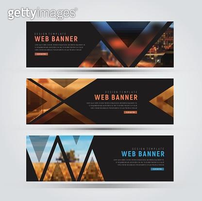 Design of black horizontal web banners.