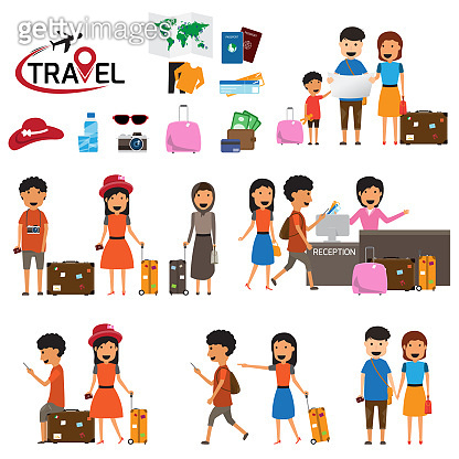 Travel and tourism infographic elements and icon set. The people travels the world with a suitcase. Trip vector flat stock design. Family travel. Father mother and son. vector illustration.