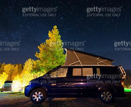 Camper car under a sky full of stars