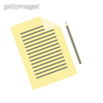 Simple flat vector pencil and document icon